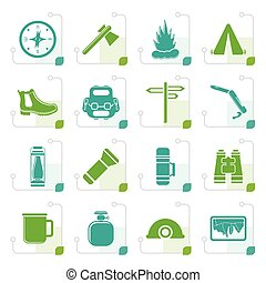 Stylized Tourism and Holiday icons - Vector Icon Set
