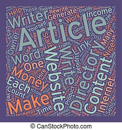 How to Make Money with Article Directories text background wordcloud concept