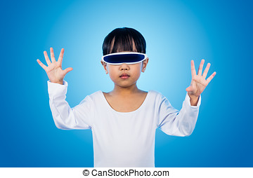 Asian Chinese little girl with futuristic eyeglassses in isolated background