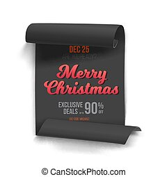 Marry Christmas Vector Scroll Banner Template - Illustration...