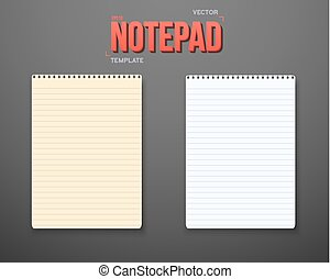 Vector Notepad Set. Notebook White Yellow Sheets