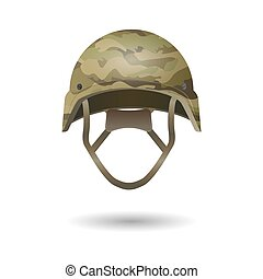 Paintball military modern camouflage helmet. Army symbol of defense.