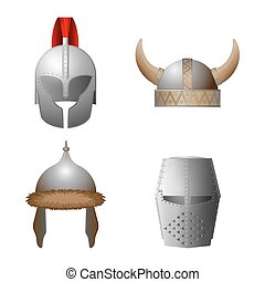 Set of medieval viking, knight, horned, coppergate helmets