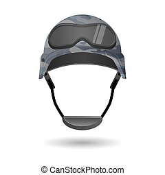 Military equipment for games. Helmet with glasses headwear...
