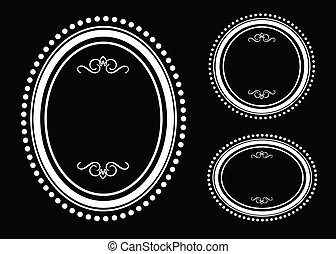 Vector Oval Dot Frame Set - Vector round ornate frame set...
