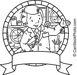 Funny engineer or inventor. Emblem - Coloring picture of...