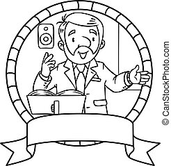 Funny univercity lector. Emblem - Coloring book of funny...