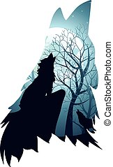 Wolf Howling with Forest - Silhouette of the wolf howling...