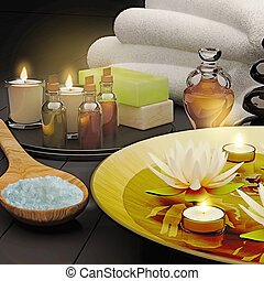 Spa still life with burning candles and lily flowers on blak  background.