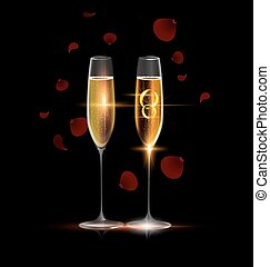 two rings and glasses of champagne - black background and...