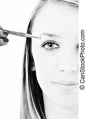eye brow beauty treatment - young girl cosmetic beauty...