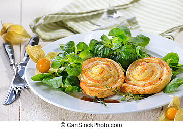 Puff pastry rolls with smoked salmon