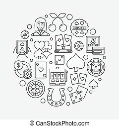 Casino gambling round illustration. Vector symbol made with...