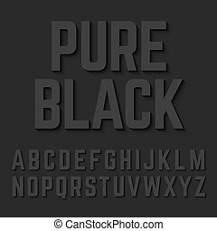 Pure Black typeface with shadow