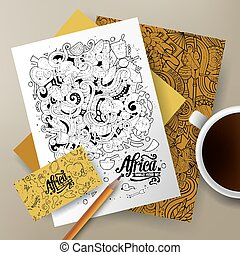 Cartoon cute vector doodles Africa corporate identity set -...