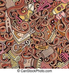 Cartoon cute doodles hairdressing salon seamless pattern....