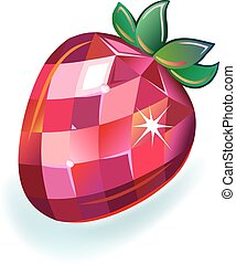 Jewelry strawberry front view, vector illustration isolated...