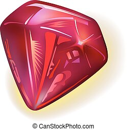 Ruby front view, vector illustration isolated on white...