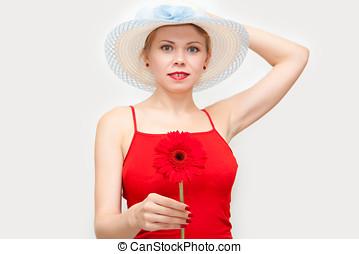 niña, flor, rojo, Manos