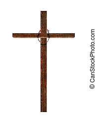 Wooden cross with crown of thorns, isolated on white