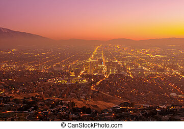 Salt Lake City at Sunset - Salt Lake City, Utah taken at...