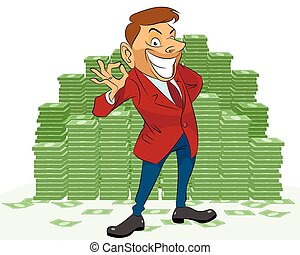 Businessman with money - Vector illustration of a...