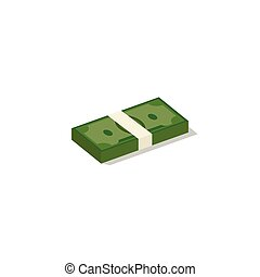 Money bundle of dollars bank notes. Pack . Vector...