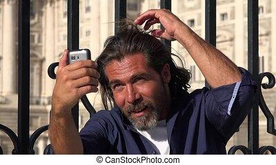 Caucasian Man Taking Selfy