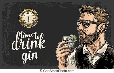 Hipster holding a glass of gin and antique pocket watch....