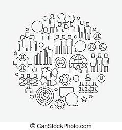 Team circular linear illustration. Vector thin line symbol...