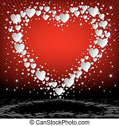 Red background with white hearts set