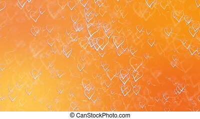 Saint Valentines Day Greeting Card. Abstract Orange Background with Outline Hearts.