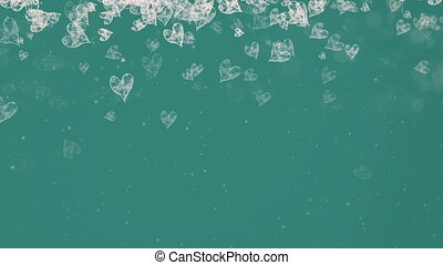 Abstract Painted Hearts Falling Green Background.