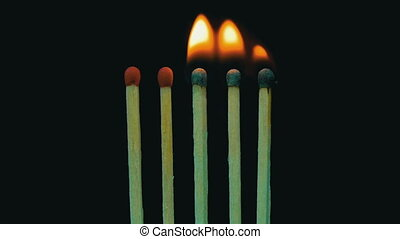 Burning Matches, Chain Reaction And Flame. Slow Motion in 96...