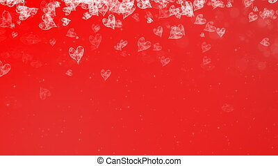 Abstract Painted Hearts Falling Red Background.