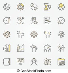 Productivity colorful icons. Vector collection of effective...