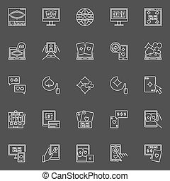 Online poker and casino icons. Vector collection of outline...