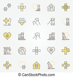 Veterinary medicine colored icons