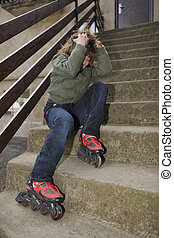 rollerblade girl - happy young girl relax and drive...