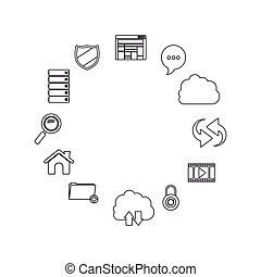 Isolated storage icon set design