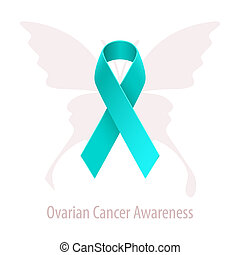 Ovarian Cancer Awareness Teal Ribbon over butterfly...