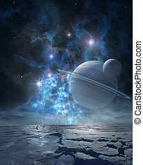 Distant planet - Extraterrestrial landscape of distant icy...