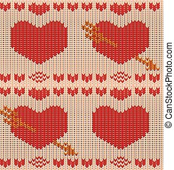St Valentines day knitted heart seamless pattern. Knit...