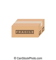 Closed Cardboard Box With Fragile Sign