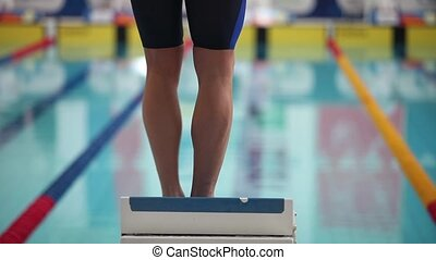 sports swimming start jumping into the water