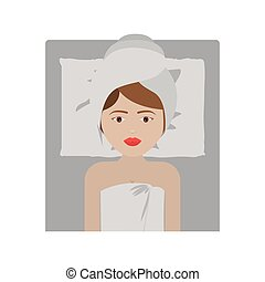 Woman with towel of spa center design - Woman with towel...