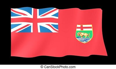 Flag of the Canadian Province of Manitoba. Waving