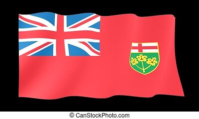 Flag of the Canadian Province of Ontario. Waving