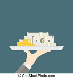Hand Holding A Tray With Pile Of Cash Concept