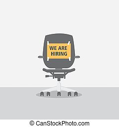 Chair With Job Vacancy Sign Concept - Black Office Chair...